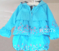 Wholesale Spring Style Kids Coats Cati ni Girls Coats Pretty Flower Patterns Blue Color Children s Tench Coats