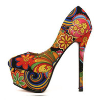 Wholesale 2013 New Spring Lover Orange Floral Prints Colorful High Platform Heels Shoes Colors Size