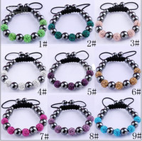 Wholesale 10MM Disco Magnetite Ball Beads Macrame Clay Crystal Bracelet FRIENDSHIP DISCO BALL BRACELETS
