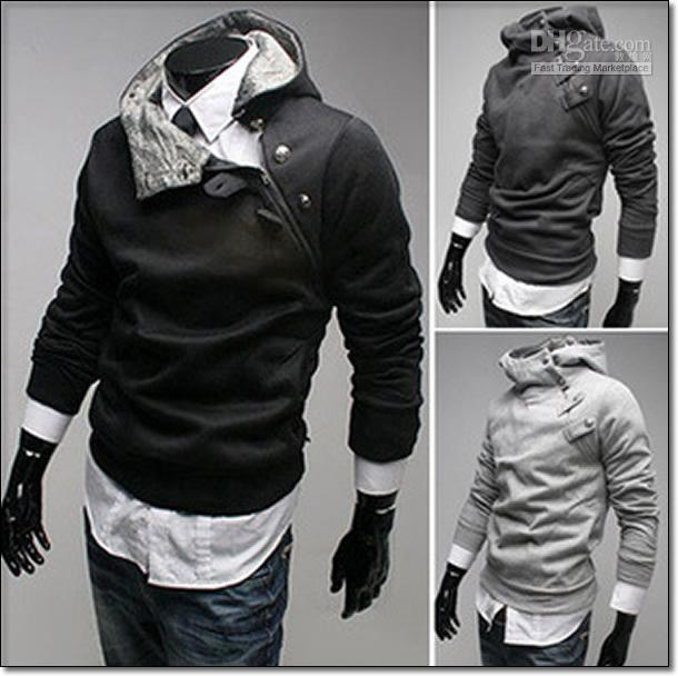 Hot Korea Cotton Men Slim Hoodie Men Turtleneck Hooded Jumper ...