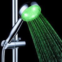 Nickle Exposed Contemporary Color changing RGB LED Shower Head Temperature Controlled no betteries new Waterfall Faucet Novelty