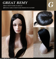 Wholesale Brazilian quot quot Remy Full Lace Wigs Jet Black Hand Tied Silky Straight Lace Wigs Siwss Lace DHL