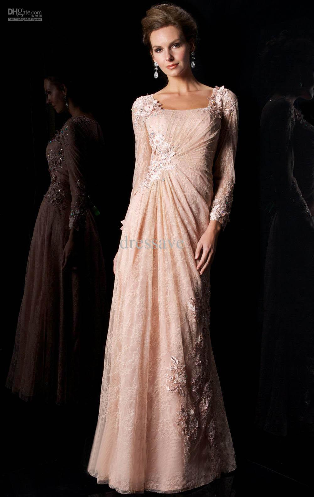 2013 Prom Dresses New Long Sleeve Lace Applique Sheath mather of ...