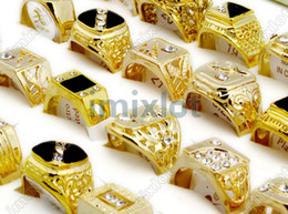 Wholesale 50X Jewelry Gold P Rings Crystal amp Rhinestone Men s Rings Oversize MR24