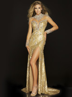 Wholesale 2013 Stunning Evening Dresses New Sexy Jewel Crystals Sequins Gold Prom Dresses
