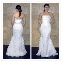 Wholesale Wedding Dresses Mermaid Trumpet Floor length beads wedding gown ruffle bridal gown sexy M1256