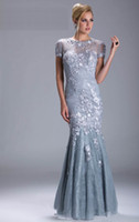 Wholesale 2013 Sexy Silver Evening Dresses Short Sleeves Beaded Mermaid Mother Of The Bride Dresses w035
