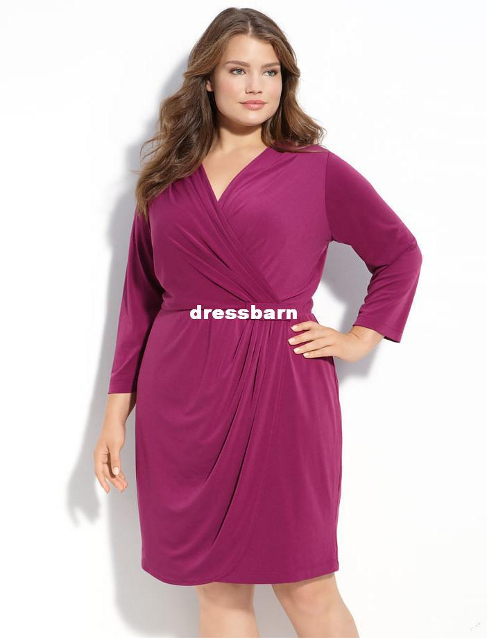Purple Sexy Plus Size Mother Of The Bride Dress Knee Length With ...