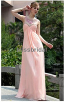 Wholesale 2013 new arrival Exquisite A line round neck beaded pink arabic evening gowns dress