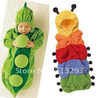 Wool baby green peas - Baby sleeping bag cotton autumn and winter thickening caterpillar and pea style