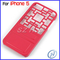 Wholesale For iPhone5 G S Thin Plastic Case Chinese Lattice Window Pattern Hard Cover Case