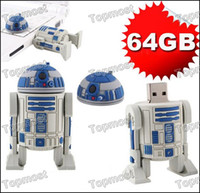Wholesale 64GB Star Wars R2 D2 Robot USB Flash Memory Pen Drive Stick Drives Pendrives Thumbdrive