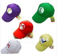 Wholesale 200 Super Mario Bros Cosplay Baseball M Hat Mario Cap