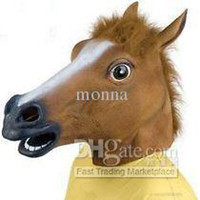 Wholesale 1pc Creepy Horse Mask Head Halloween Costume Theater Prop Novelty Latex Rubber H21