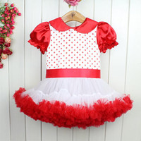 TUTU Halloween Girl 2013 Wholesale Baby Girls Dresses Red With Dot Tutu Dress Short Sleeve Kids Clothing For Party Wear