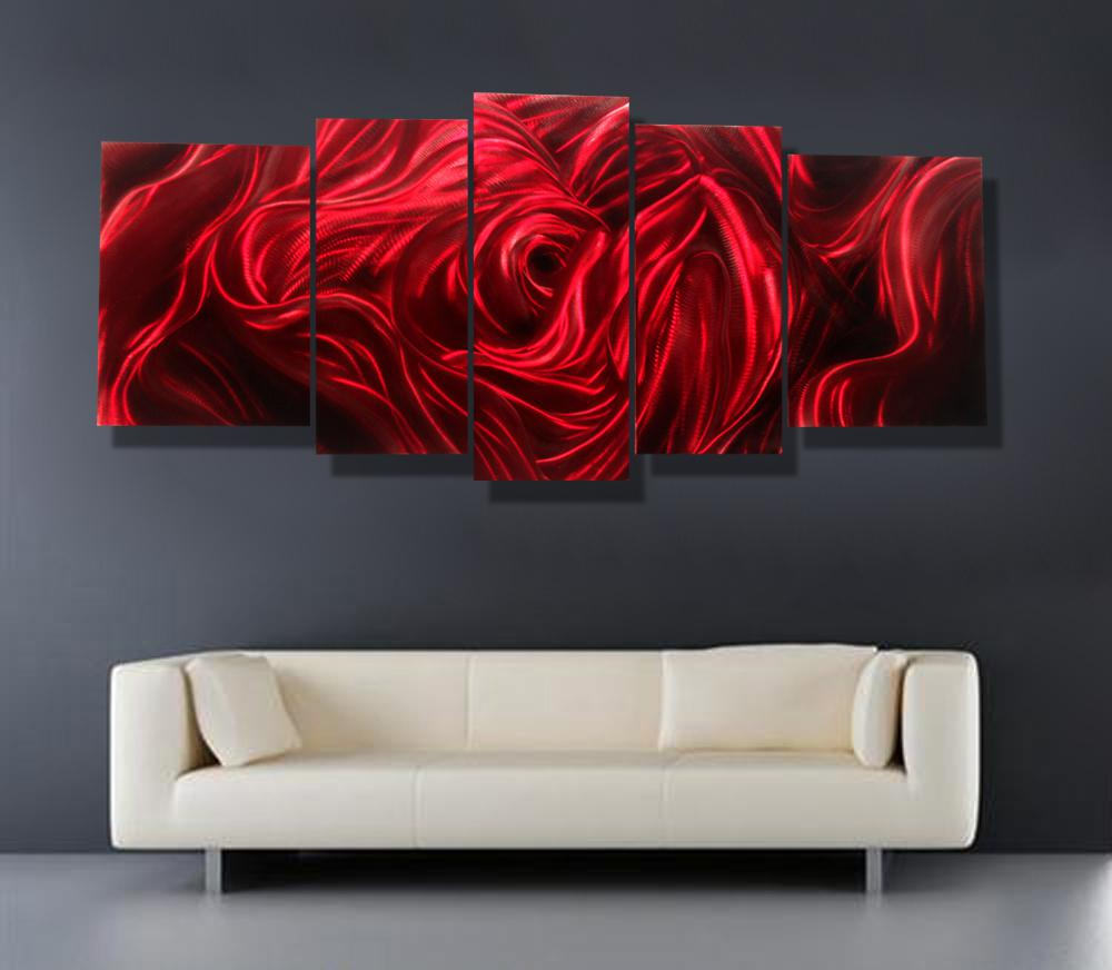 2017 red rose modern contemporary abstract painting metal for Modern red decor