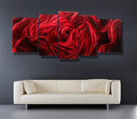 Wholesale Red Rose Modern contemporary abstract painting metal wall art sculpture wall hanging decor A00354