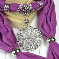 Wholesale Elegant Round flower charm Jewelry scarf pendant scarves necklace
