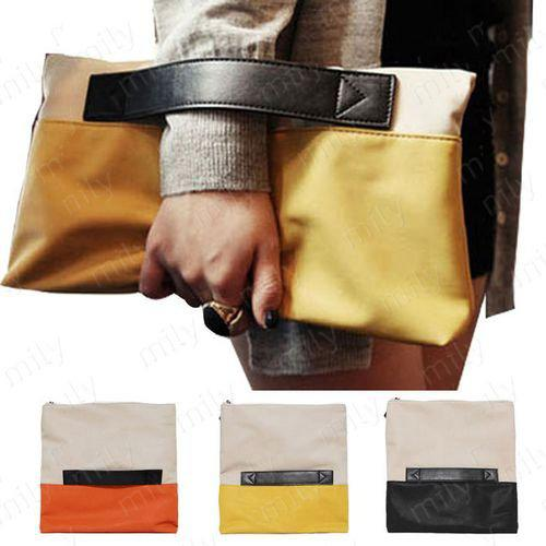 Large Girl Pu Leather Clutch Bags Patchwork Hand Envelope Bag ...