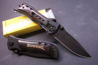 Wholesale Drop shipping Browning Folding Knife Black Wood Handle Outdoor camping fishing gift knife knives