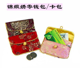 Wholesale Satin Jewelry Packaging Wholesale - Small Cute Silk Fabric Coin Purse Women Credit Card Holder Zipper Vintage decorating Gift Bags China knot Jewelry Packaging Pouch Wholesale