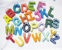 Wholesale wood alphabet fridge magnets novelty magnetic word magnet kids for refrigerator