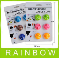 Wholesale Best Mix Color Multipurpose Cable Holder cable clip with retail packaging Set stochastic colors