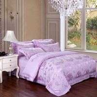 Wholesale Luxury Lilac Fabric Jacquard Full Queen Bedding Set Satin Egyptian Cotton Duver Covers Comforter pc