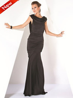 Wholesale 2013 Black Sheath Evening Dresses Scoop Long Simple Sexy Prom Gowns Jersey Pageant Party Gowns Cheap