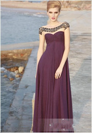 Wholesale 2013 Simple Chiffon Empire Evening Dresses Jewel Beads Ruffle Ankle Length Formal Prom Party Gowns