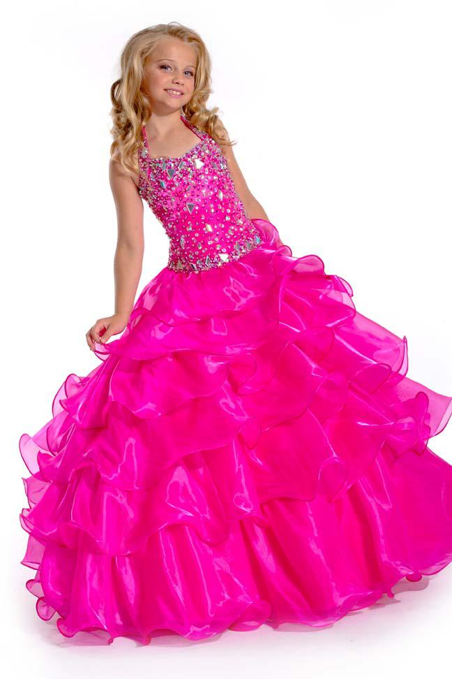 Ball Gown 2015hot Pink Beaded Halter With Crystals Dropped Waist ...