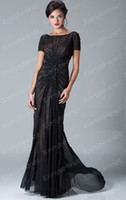 Wholesale 2013 Sexy New Jewel Short Sleeve Crystals Ruffles Chiffon Black Mother Of The Bride Dresses