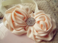 Wholesale Baby headband quot Rolled Fabric Rosette Flowers with shiny diamond headband for girls
