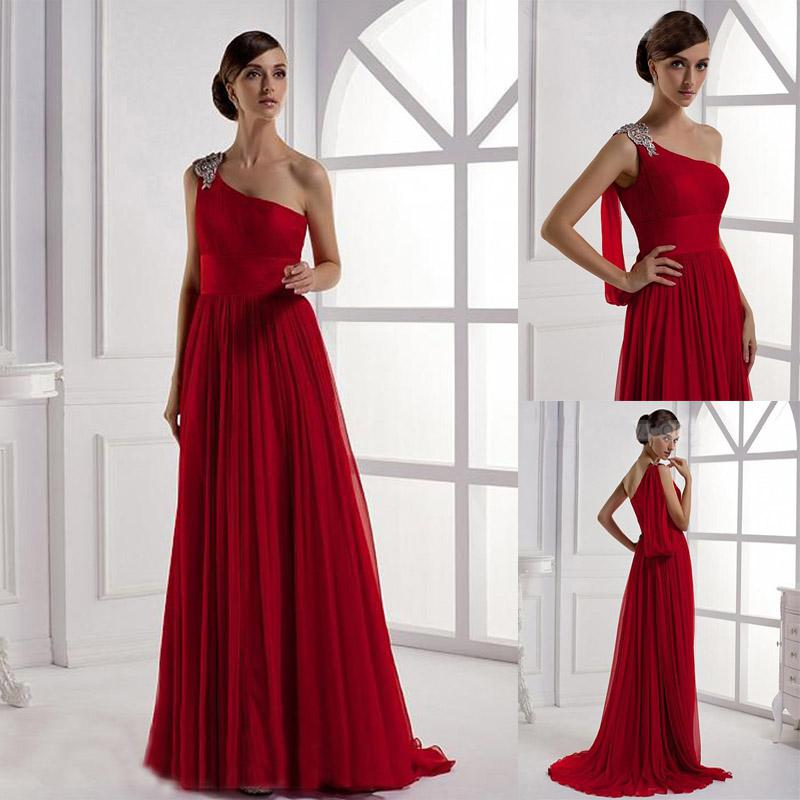 Summer Beach Evening Dresses One Shoulder Crystals Beadings ...