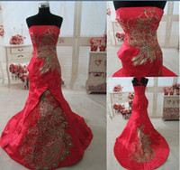 Wholesale 2013 Real Picture Red Chinese Wedding Dress Evening Celebrity Gown Dress