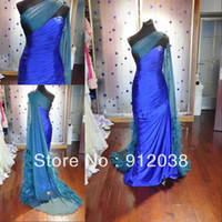 Model Pictures Organza Sleeveless Elegant custom made real picture bule with green feather zuhair murad evening dress