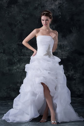 Wholesale 2013 Strapless Wedding Dress Sexy Organza Hi lo Beaded Bridal Gown With Pick up DH003754