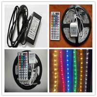 Wholesale smd RGB Led Strip light Waterproof m led V keys IR A Power Supply Led string Color