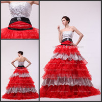 Wholesale Strapless Ribbon Crystals Crepe satin organza Zipper Floor Length Elegant Quinceanera Dress d45