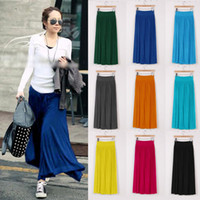 Wholesale Womens Long Maxi Skirt Spring Fall Winter Pleated Modal Cotton Casual Dress Elastic Waist Size S M L