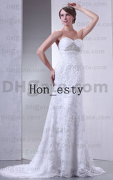 Wholesale Empire Wedding Bridal Gowns Lace Sweetheart Zipper Sequin Beading Pearls Chapel Train Bridal Dresses