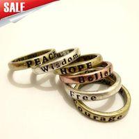 Wholesale Vintage Rings Love Peace Free Wisdom Luck Mix Item Finger Rings Hot Sale Mix Color JZ135