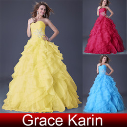 Wholesale Charming ruffle cascades Appliques Sweetheart Ball Gown Wedding Dress Prom Dresses CL3411
