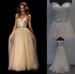 Wholesale Hunter Nude Tulle A line Prom Gown with Sequins rhinestones Homecoming dresses SH2545