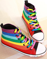 Wholesale Freeshipping Lady Fashion Casual Shoes Sports Sneaker Canvas shoes Rainbow Designed Leisure Shoes EU