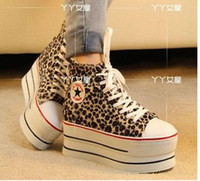 Wholesale Star Love Leopard Smart Studded Platform Casual Sneakers Drop Shipping Size