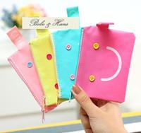 Plain fashion pvc purse - New Fashion smile Portable PVC Grid Wallet coin Purses bag