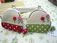 Wholesale Freeshipping New button flower Hasp Coin Purses Portable Wallet Cosmetic Bag Key Holder who