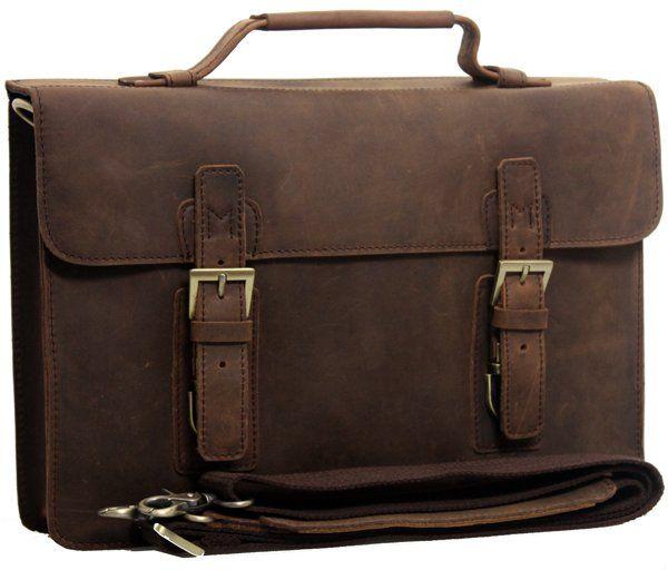 Ems Vintage Style Fashion Men's Leather Briefcase Messenger ...