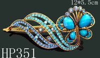 Wholesale Women Vintage hair jewelry Zinc alloy rhinestone Butterfly hair clip hair accessories Mixed colors HP351